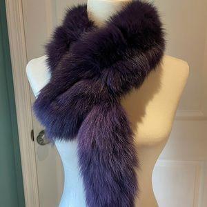 ⚠️REAL FUR⚠️ Purple dyed fox fur scarf!
